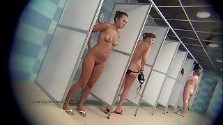 Real public showers with hidden cam set inwards