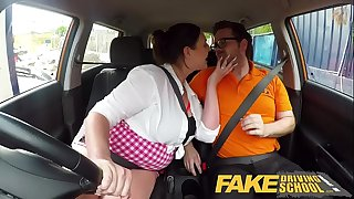 Fake Driving School Busty curvaceous learners nasty blowjob and fucks to orgasm