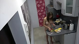 Czech nice teen - Naked cooking, voyeur spy cam at home