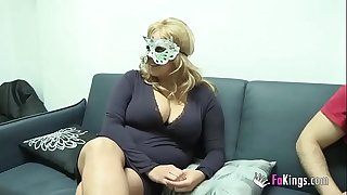 Big boobed blonde want to screw hooded guy